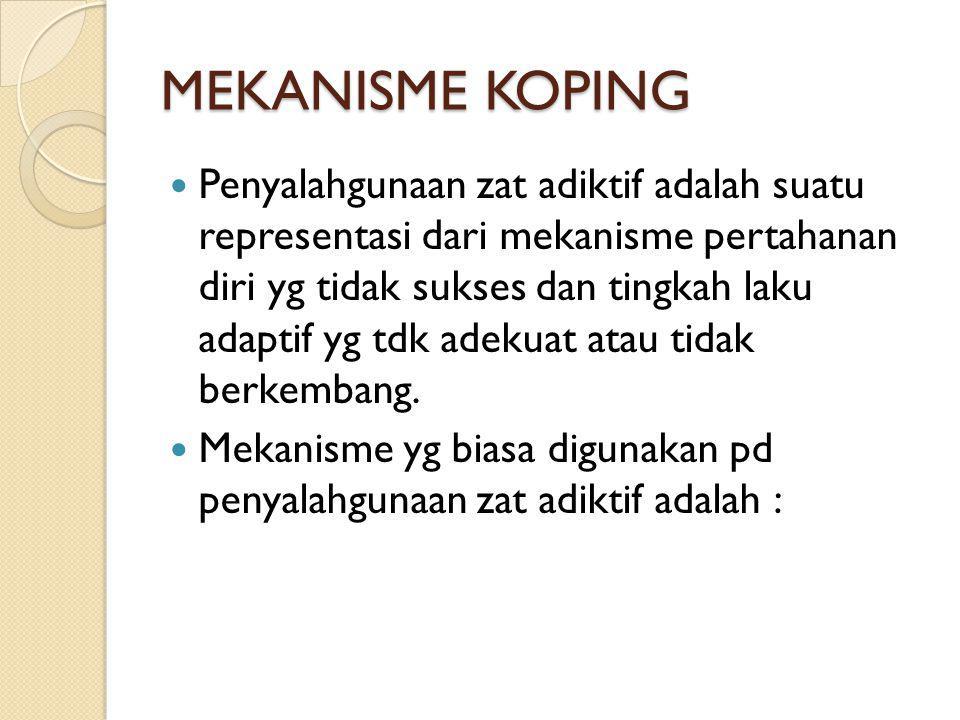 MEKANISME KOPING Penyalahgunaan zat adiktif adalah suatu representasi dari mekanisme pertahanan diri yg tidak sukses dan tingkah laku adaptif yg tdk a