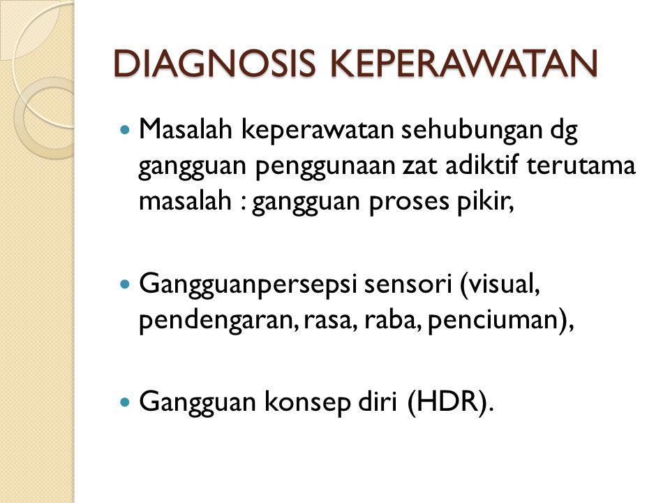 DIAGNOSIS KEPERAWATAN Masalah keperawatan sehubungan dg gangguan penggunaan zat adiktif terutama masalah : gangguan proses pikir, Gangguanpersepsi sen