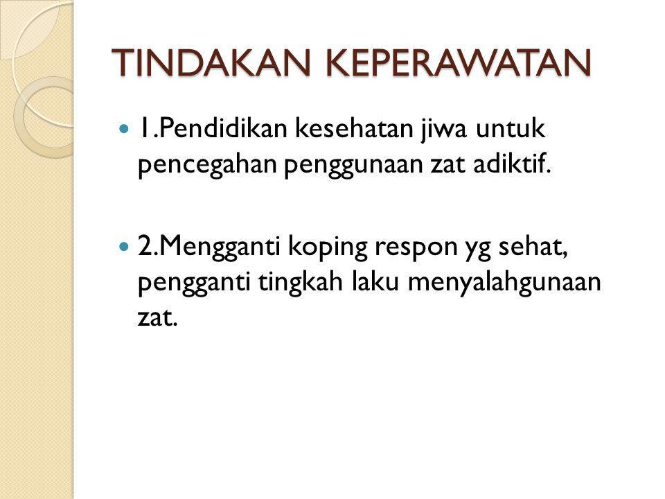 TINDAKAN KEPERAWATAN 1.Pendidikan kesehatan jiwa untuk pencegahan penggunaan zat adiktif. 2.Mengganti koping respon yg sehat, pengganti tingkah laku m