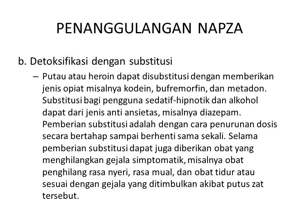 PENANGGULANGAN NAPZA b. Detoksifikasi dengan substitusi – Putau atau heroin dapat disubstitusi dengan memberikan jenis opiat misalnya kodein, bufremor