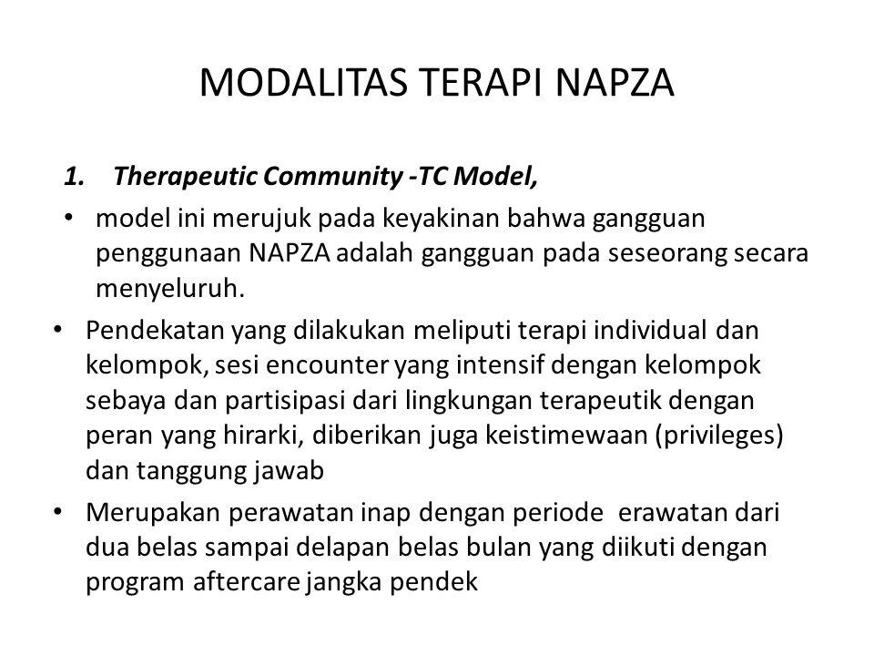 MODALITAS TERAPI NAPZA 1.Therapeutic Community -TC Model, model ini merujuk pada keyakinan bahwa gangguan penggunaan NAPZA adalah gangguan pada seseor