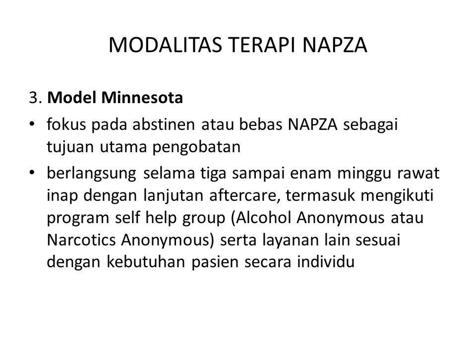 MODALITAS TERAPI NAPZA 3. Model Minnesota fokus pada abstinen atau bebas NAPZA sebagai tujuan utama pengobatan berlangsung selama tiga sampai enam min