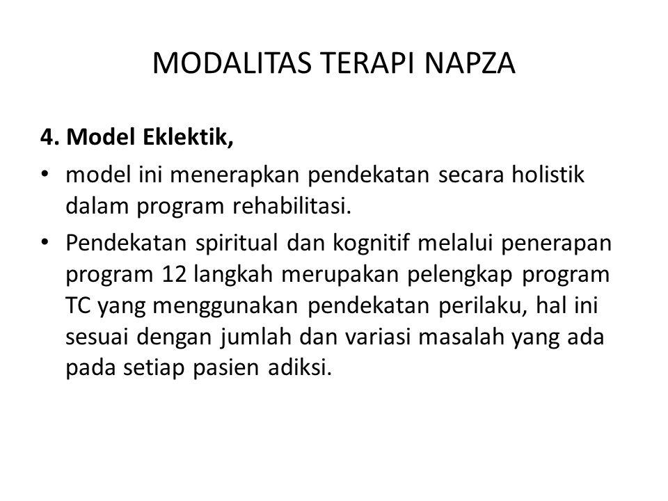 MODALITAS TERAPI NAPZA 4. Model Eklektik, model ini menerapkan pendekatan secara holistik dalam program rehabilitasi. Pendekatan spiritual dan kogniti