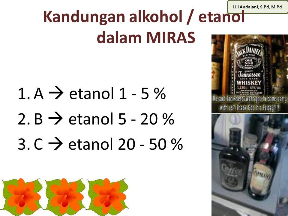 Lili Andajani, S.Pd, M.Pd Kandungan alkohol / etanol dalam MIRAS 1.A  etanol 1 - 5 % 2.B  etanol 5 - 20 % 3.C  etanol 20 - 50 %