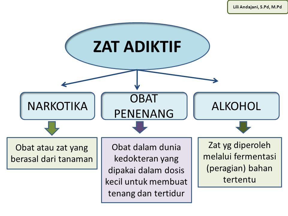 Lili Andajani, S.Pd, M.Pd ALKOHOL Diperoleh dari proses peragian / fermentasi sejumlah bahan.