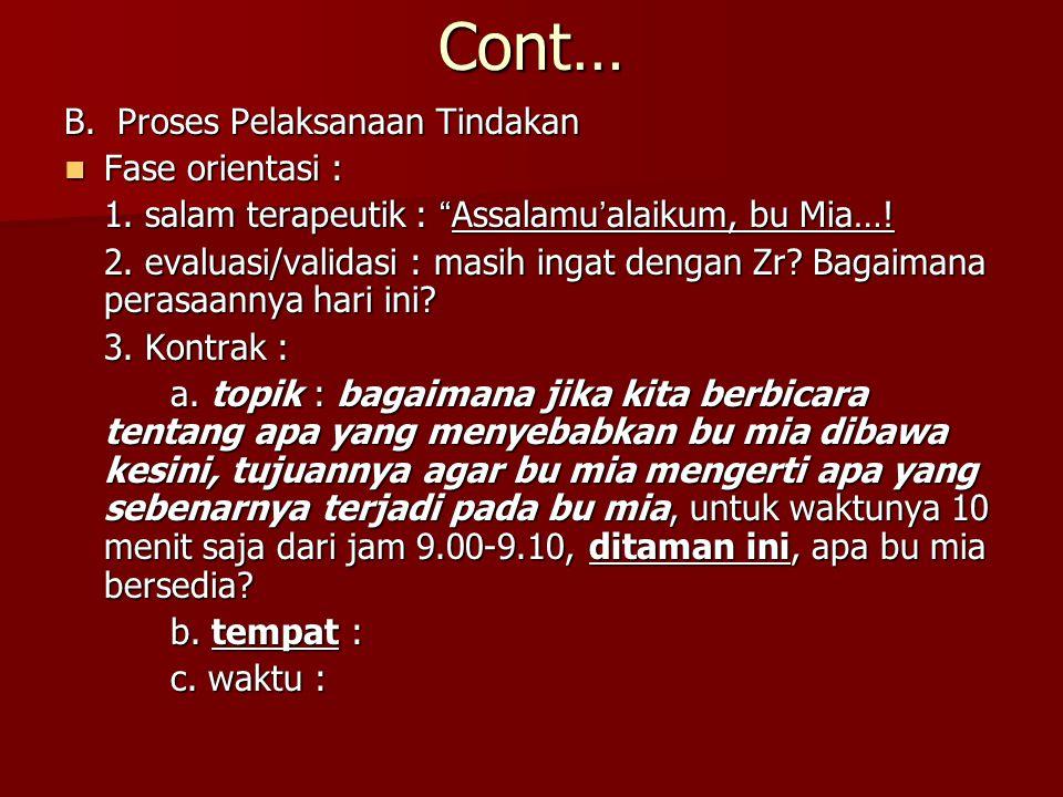 "Cont… B. Proses Pelaksanaan Tindakan Fase orientasi : Fase orientasi : 1. salam terapeutik : ""Assalamu'alaikum, bu Mia…! 2. evaluasi/validasi : masih"