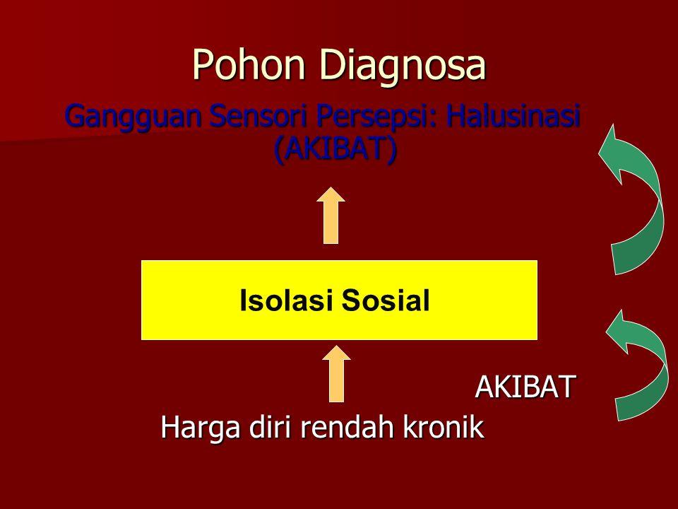 Pohon Diagnosa Gangguan Sensori Persepsi: Halusinasi (AKIBAT) AKIBAT Harga diri rendah kronik Isolasi Sosial