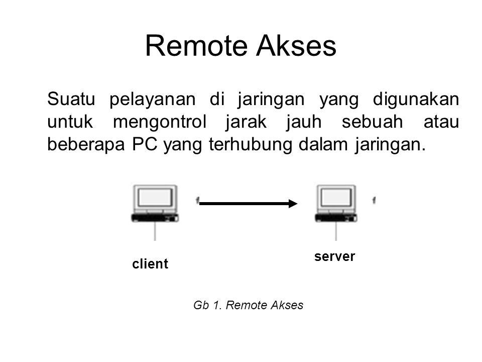 Remote Akses Suatu pelayanan di jaringan yang digunakan untuk mengontrol jarak jauh sebuah atau beberapa PC yang terhubung dalam jaringan. client serv