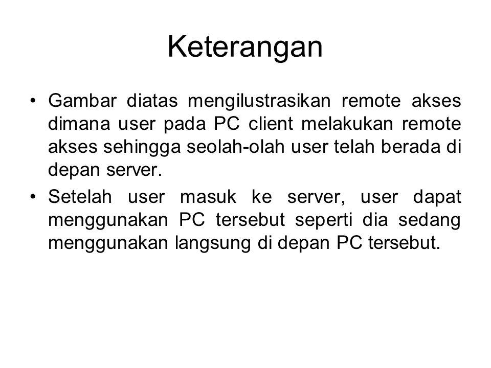 Keterangan Gambar diatas mengilustrasikan remote akses dimana user pada PC client melakukan remote akses sehingga seolah-olah user telah berada di dep