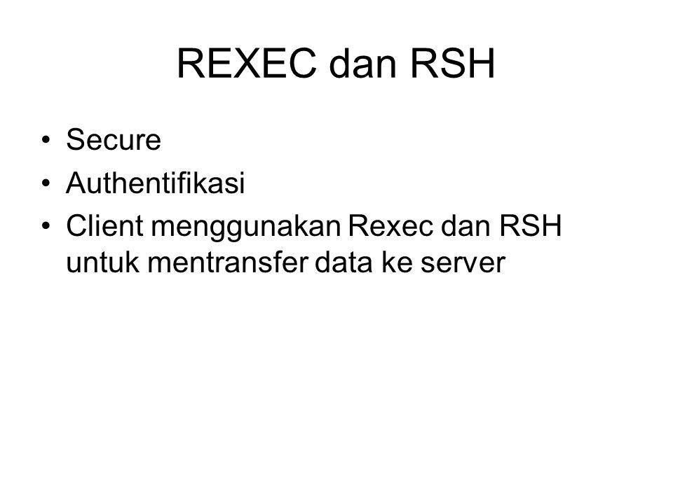 REXEC dan RSH Secure Authentifikasi Client menggunakan Rexec dan RSH untuk mentransfer data ke server