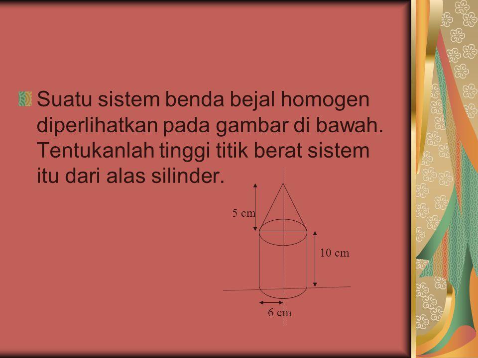 Suatu sistem benda bejal homogen diperlihatkan pada gambar di bawah. Tentukanlah tinggi titik berat sistem itu dari alas silinder. 10 cm 5 cm 6 cm