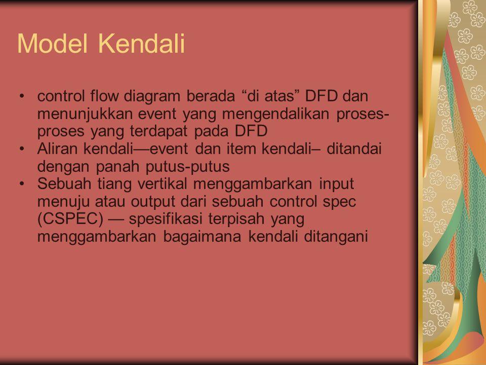 Model Kendali control flow diagram berada di atas DFD dan menunjukkan event yang mengendalikan proses- proses yang terdapat pada DFD Aliran kendali—event dan item kendali– ditandai dengan panah putus-putus Sebuah tiang vertikal menggambarkan input menuju atau output dari sebuah control spec (CSPEC) — spesifikasi terpisah yang menggambarkan bagaimana kendali ditangani