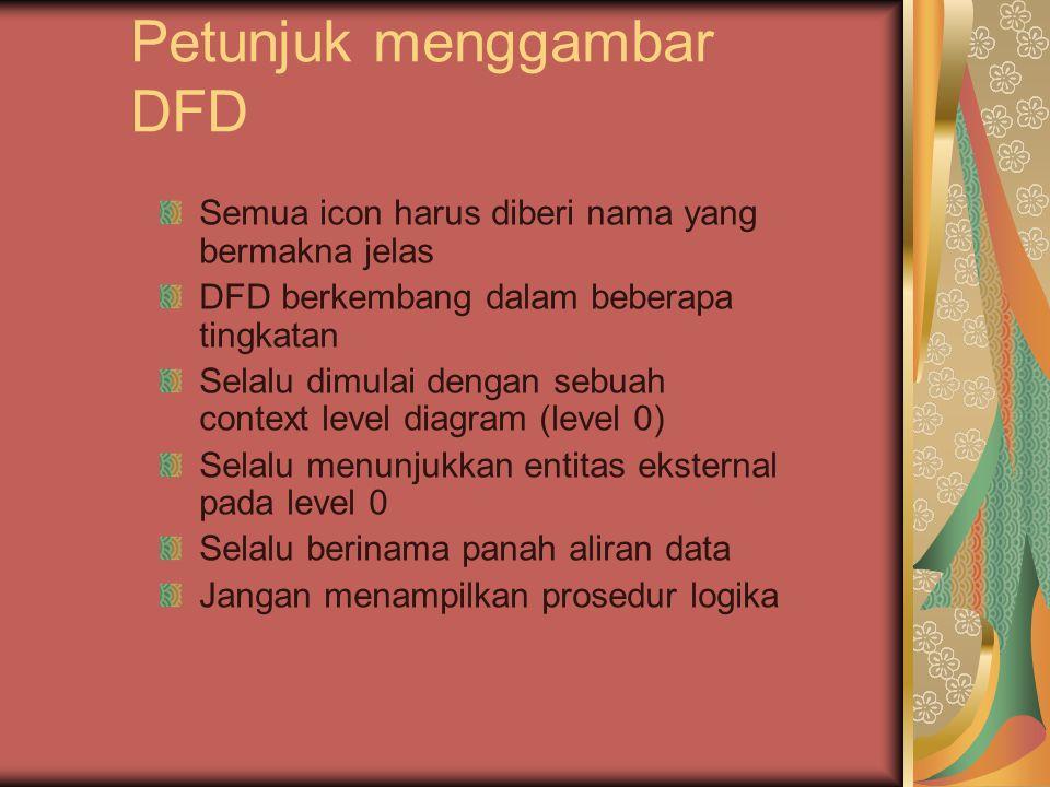 Petunjuk menggambar DFD Semua icon harus diberi nama yang bermakna jelas DFD berkembang dalam beberapa tingkatan Selalu dimulai dengan sebuah context level diagram (level 0) Selalu menunjukkan entitas eksternal pada level 0 Selalu berinama panah aliran data Jangan menampilkan prosedur logika