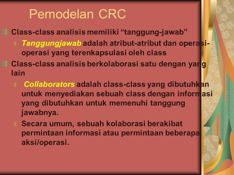Pemodelan CRC Class-class analisis memiliki tanggung-jawab Tanggungjawab adalah atribut-atribut dan operasi- operasi yang terenkapsulasi oleh class Class-class analisis berkolaborasi satu dengan yang lain Collaborators adalah class-class yang dibutuhkan untuk menyediakan sebuah class dengan informasi yang dibutuhkan untuk memenuhi tanggung jawabnya.