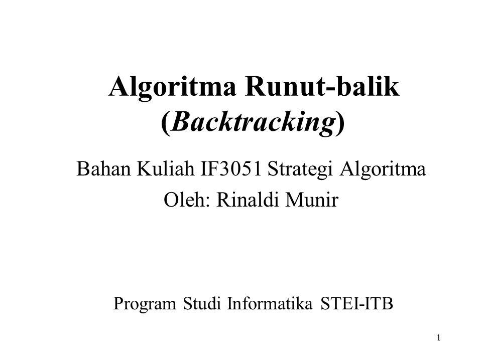 1 Algoritma Runut-balik (Backtracking) Bahan Kuliah IF3051 Strategi Algoritma Oleh: Rinaldi Munir Program Studi Informatika STEI-ITB