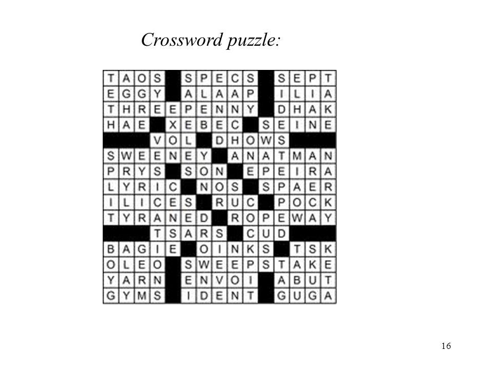 16 Crossword puzzle:
