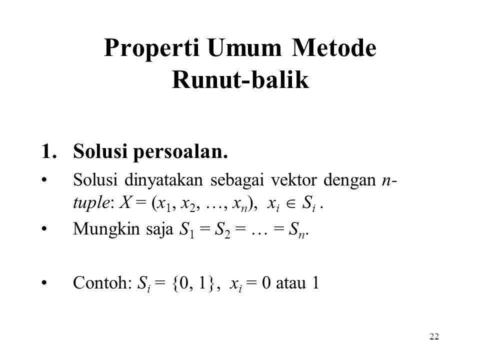 22 Properti Umum Metode Runut-balik 1.Solusi persoalan. Solusi dinyatakan sebagai vektor dengan n- tuple: X = (x 1, x 2, …, x n ), x i  S i. Mungkin