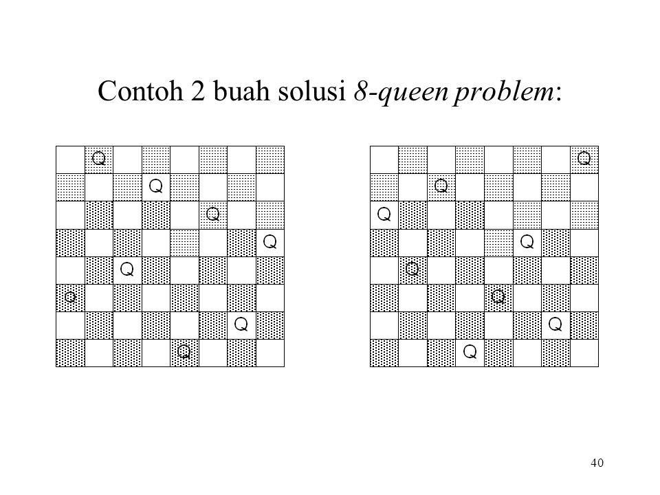 40 Contoh 2 buah solusi 8-queen problem: