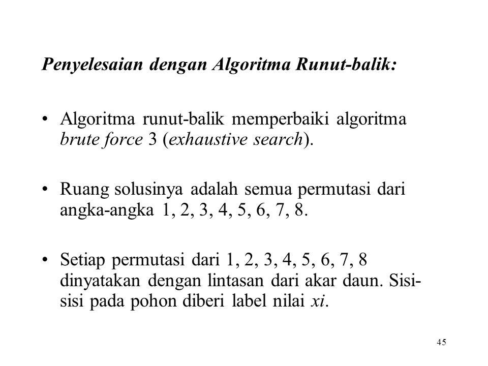 45 Penyelesaian dengan Algoritma Runut-balik: Algoritma runut-balik memperbaiki algoritma brute force 3 (exhaustive search). Ruang solusinya adalah se