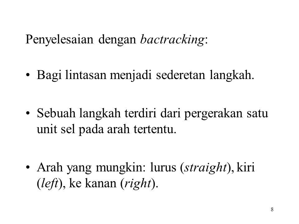8 Penyelesaian dengan bactracking: Bagi lintasan menjadi sederetan langkah. Sebuah langkah terdiri dari pergerakan satu unit sel pada arah tertentu. A