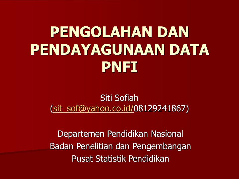 PENGOLAHAN DAN PENDAYAGUNAAN DATA PNFI Siti Sofiah (sit_sof@yahoo.co.id/08129241867) sit_sof@yahoo.co.id/ Departemen Pendidikan Nasional Badan Penelit