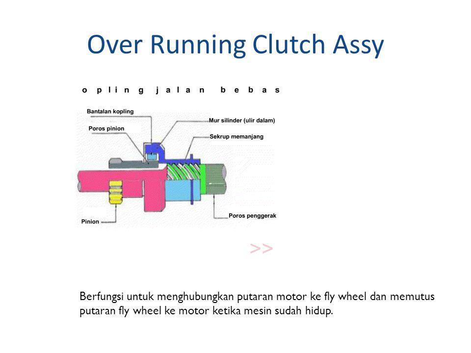 Over Running Clutch Assy Berfungsi untuk menghubungkan putaran motor ke fly wheel dan memutus putaran fly wheel ke motor ketika mesin sudah hidup.