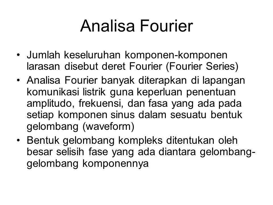 Analisa Fourier Jumlah keseluruhan komponen-komponen larasan disebut deret Fourier (Fourier Series) Analisa Fourier banyak diterapkan di lapangan komu
