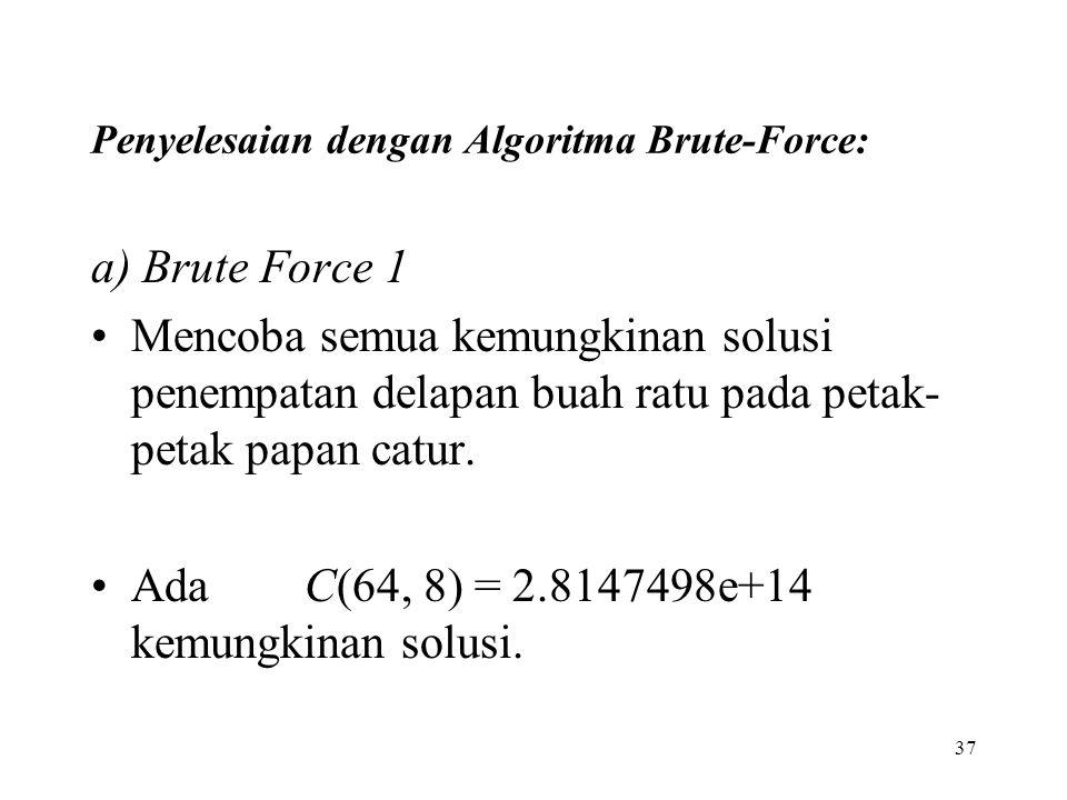 37 Penyelesaian dengan Algoritma Brute-Force: a) Brute Force 1 Mencoba semua kemungkinan solusi penempatan delapan buah ratu pada petak- petak papan catur.