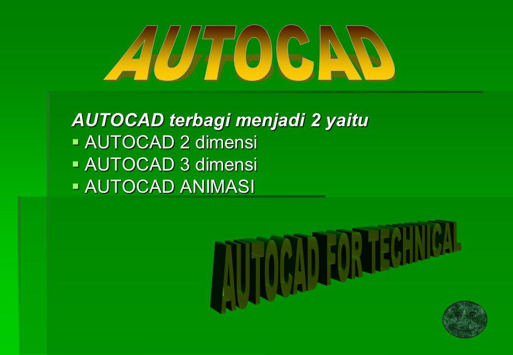 TOOLBAR dalam kondisi DEFAULT dalam AUTOCAD : TOOLBAR STANDART TOOLBAR DRAW TOOLBAR OBJECT PROPERTIES TOOLBAR MODIFY