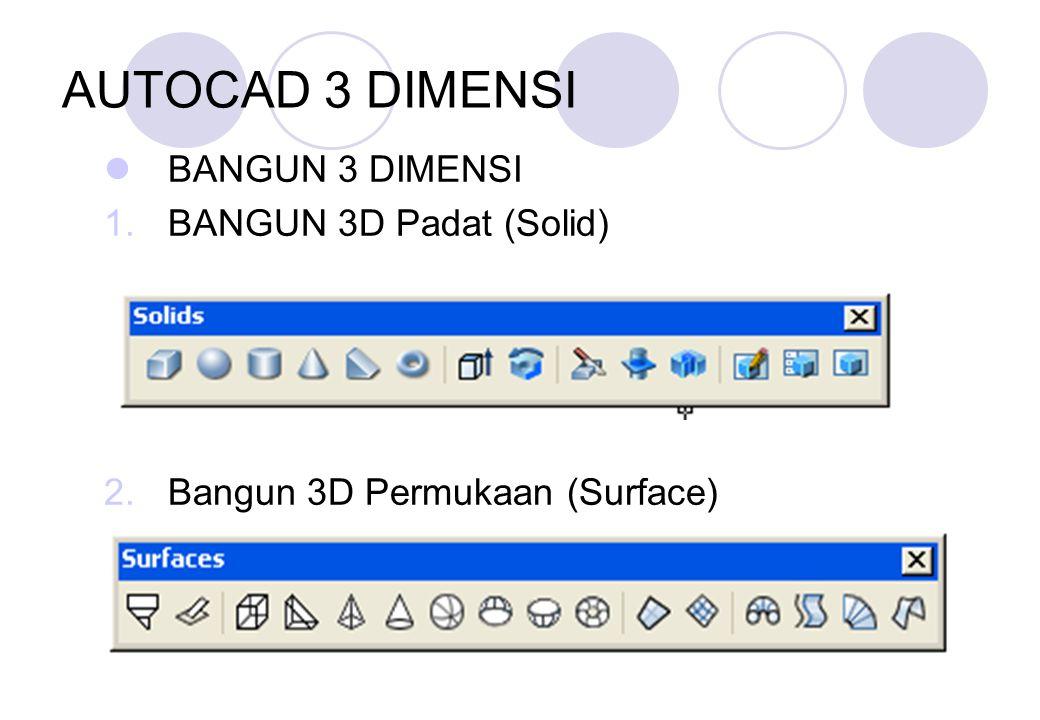 AUTOCAD 3 DIMENSI BANGUN 3 DIMENSI 1.BANGUN 3D Padat (Solid) 2.Bangun 3D Permukaan (Surface)