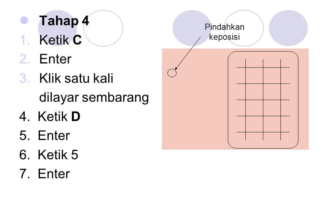 Tahap 5 1.Ketik CO 2.Enter 3.Klik Lingkaran pada garisnya 4.Enter 5.Klik pada lingkaran bagian tengahnya 6.Pindahkan pada posisi yang ditentukan 7.Klik enter atau Esc