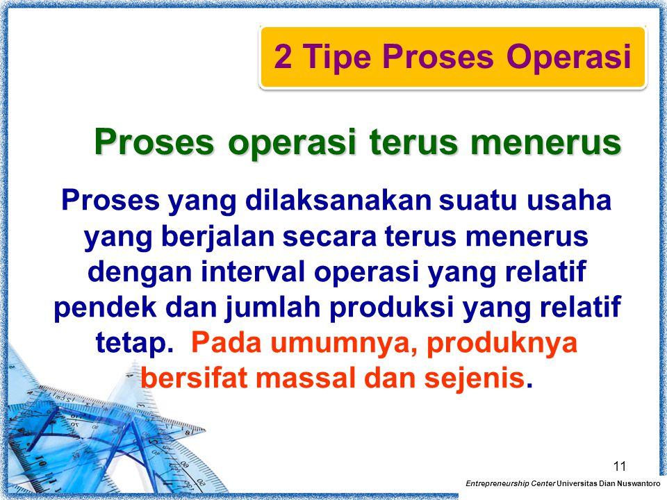 Proses operasi terus menerus Proses yang dilaksanakan suatu usaha yang berjalan secara terus menerus dengan interval operasi yang relatif pendek dan j