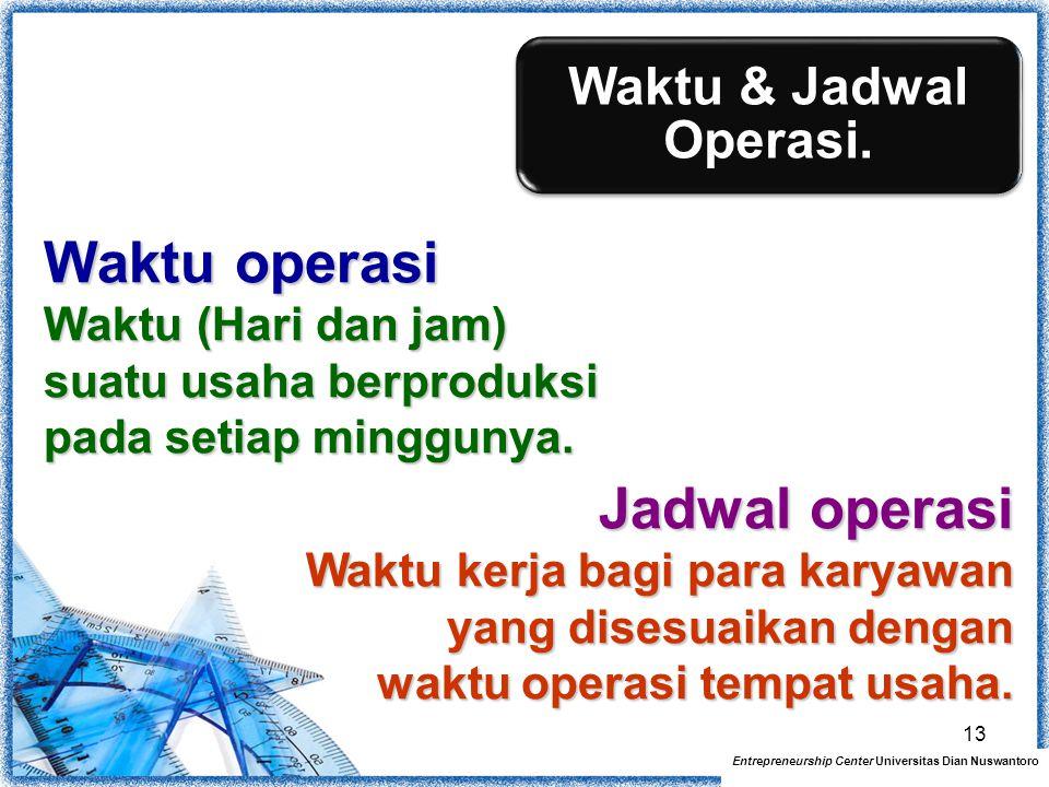 Waktu & Jadwal Operasi. Entrepreneurship Center Universitas Dian Nuswantoro Waktu operasi Waktu (Hari dan jam) suatu usaha berproduksi pada setiap min