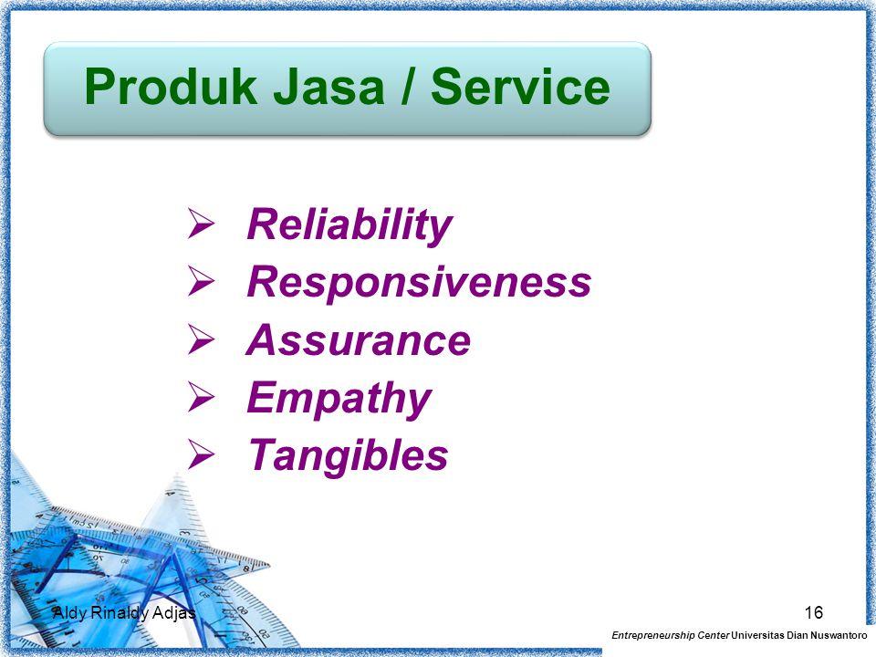  Reliability  Responsiveness  Assurance  Empathy  Tangibles Aldy Rinaldy Adjas16 Produk Jasa / Service Entrepreneurship Center Universitas Dian N