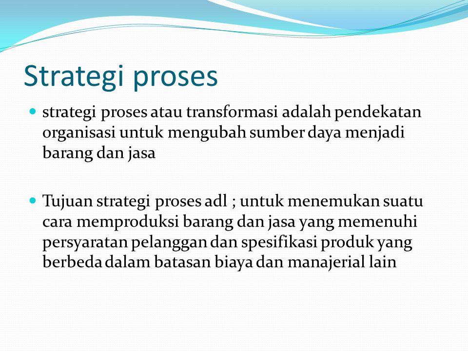 Strategi proses strategi proses atau transformasi adalah pendekatan organisasi untuk mengubah sumber daya menjadi barang dan jasa Tujuan strategi proses adl ; untuk menemukan suatu cara memproduksi barang dan jasa yang memenuhi persyaratan pelanggan dan spesifikasi produk yang berbeda dalam batasan biaya dan manajerial lain