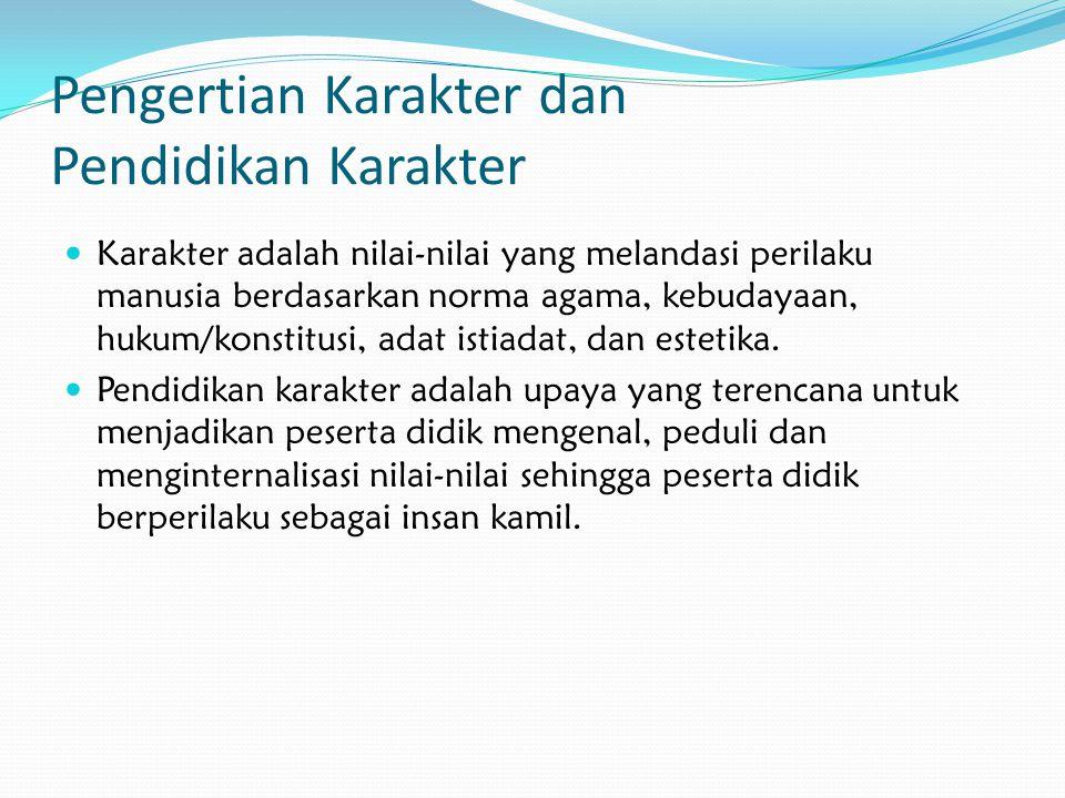 Pengertian Karakter dan Pendidikan Karakter Karakter adalah nilai-nilai yang melandasi perilaku manusia berdasarkan norma agama, kebudayaan, hukum/kon