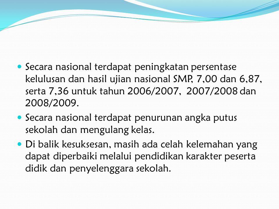 Secara nasional terdapat peningkatan persentase kelulusan dan hasil ujian nasional SMP, 7,00 dan 6,87, serta 7,36 untuk tahun 2006/2007, 2007/2008 dan
