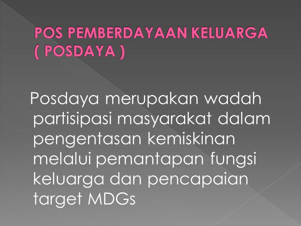 Posdaya merupakan wadah partisipasi masyarakat dalam pengentasan kemiskinan melalui pemantapan fungsi keluarga dan pencapaian target MDGs