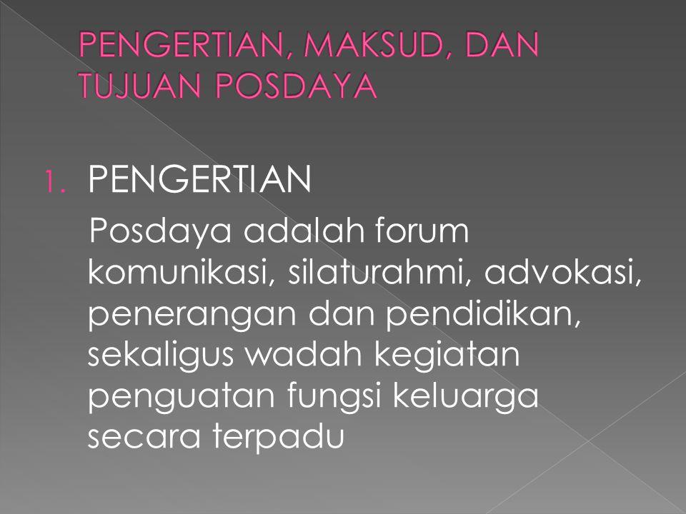 1. PENGERTIAN Posdaya adalah forum komunikasi, silaturahmi, advokasi, penerangan dan pendidikan, sekaligus wadah kegiatan penguatan fungsi keluarga se