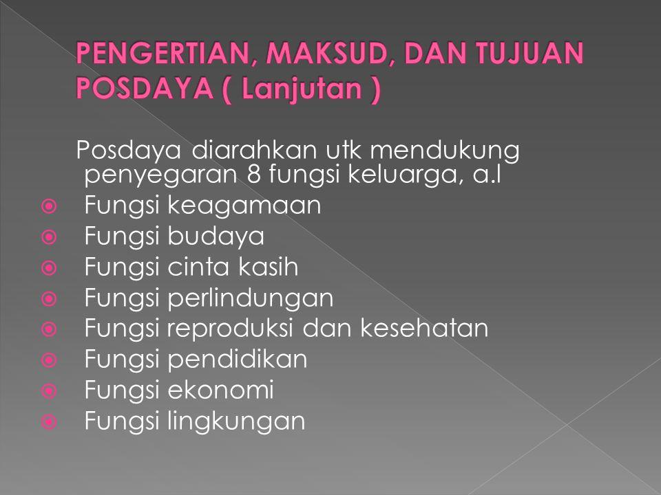 Posdaya diarahkan utk mendukung penyegaran 8 fungsi keluarga, a.l  Fungsi keagamaan  Fungsi budaya  Fungsi cinta kasih  Fungsi perlindungan  Fung
