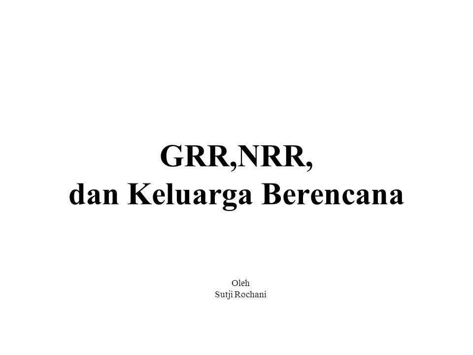 GRR dan NRR Ukuran Reproduksi: GRR adalah Gross Reproductive Rate atau Angka Reproduksi Kotor NRR adalah Net Reproductive Rate atau Angka Reproduksi Bersih
