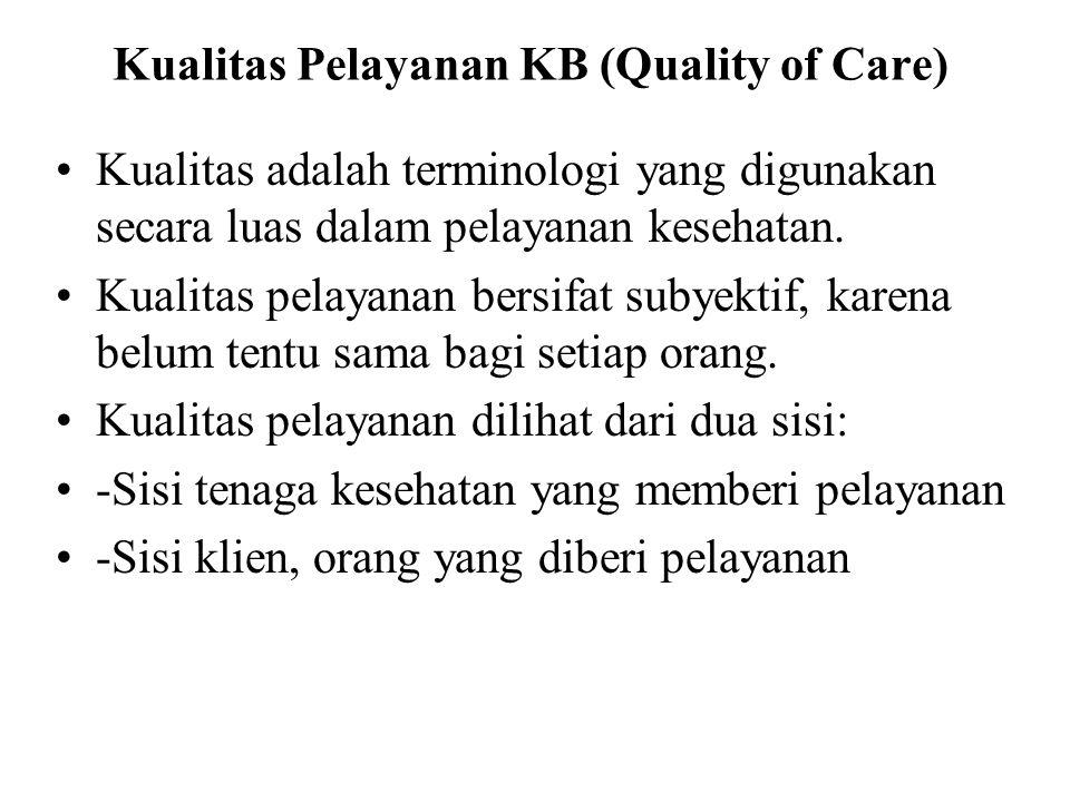 Kualitas Pelayanan KB (Quality of Care) Kualitas adalah terminologi yang digunakan secara luas dalam pelayanan kesehatan. Kualitas pelayanan bersifat