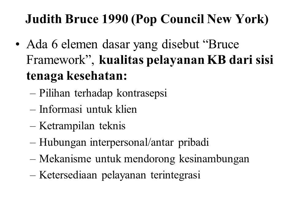 """Judith Bruce 1990 (Pop Council New York) Ada 6 elemen dasar yang disebut """"Bruce Framework"""", kualitas pelayanan KB dari sisi tenaga kesehatan: –Pilihan"""