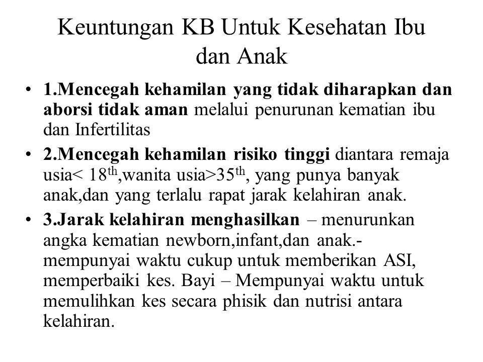 Keuntungan KB Untuk Kesehatan Ibu dan Anak 1.Mencegah kehamilan yang tidak diharapkan dan aborsi tidak aman melalui penurunan kematian ibu dan Inferti