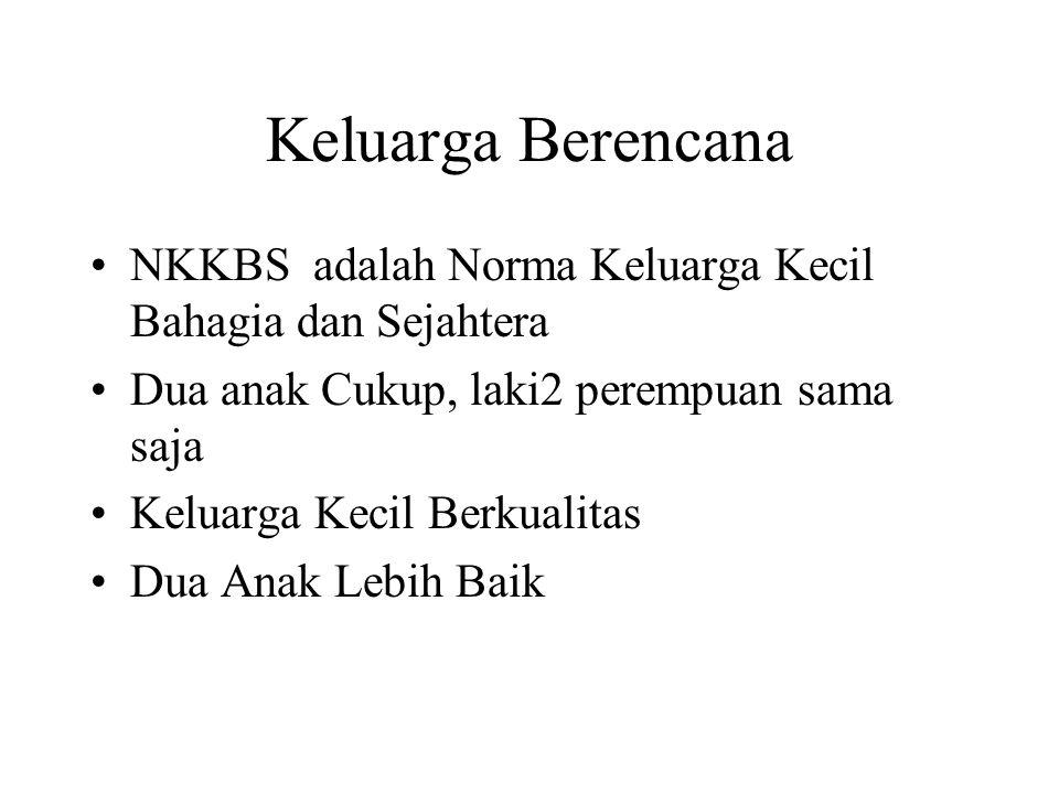 Keluarga Berencana NKKBS adalah Norma Keluarga Kecil Bahagia dan Sejahtera Dua anak Cukup, laki2 perempuan sama saja Keluarga Kecil Berkualitas Dua An