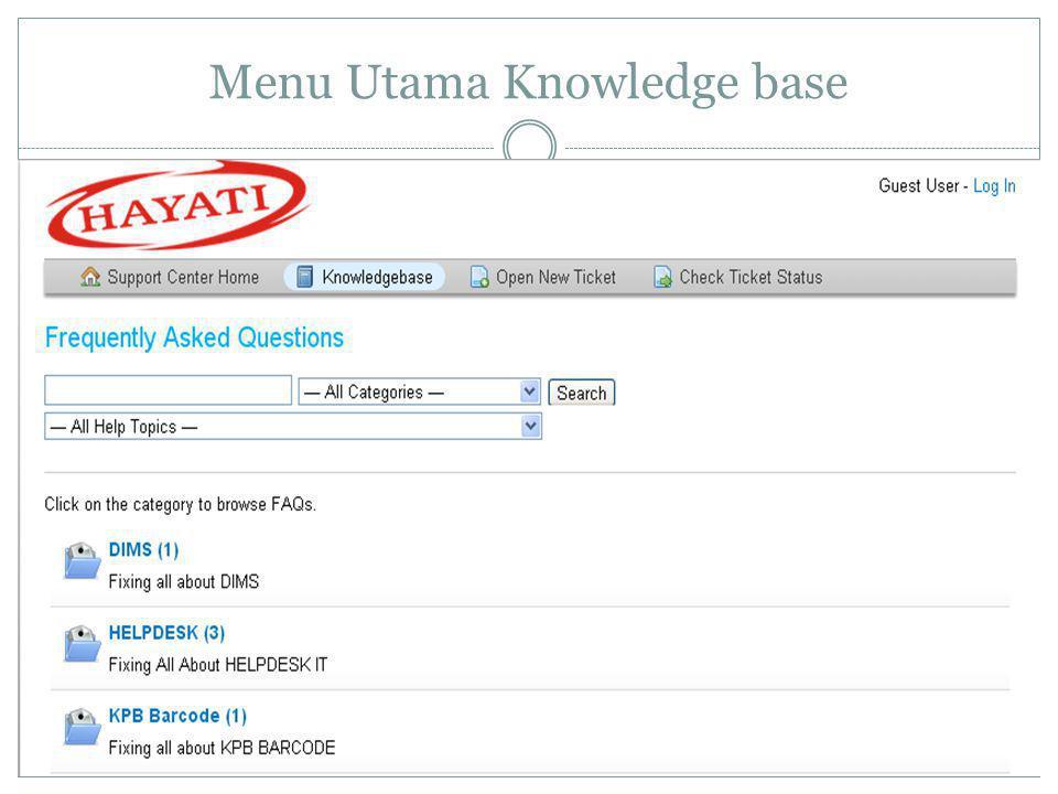 Menu Utama Knowledge base