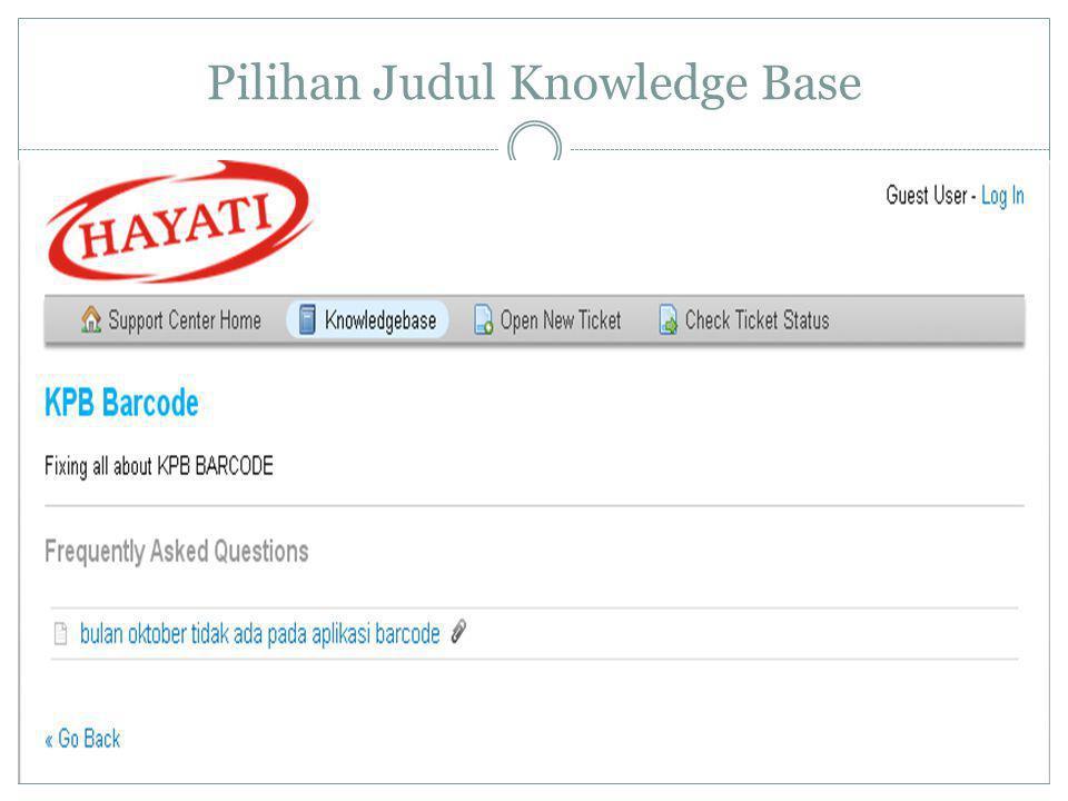 Pilihan Judul Knowledge Base