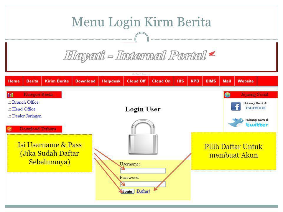 Menu Login Kirm Berita Isi Username & Pass (Jika Sudah Daftar Sebelumnya) Pilih Daftar Untuk membuat Akun
