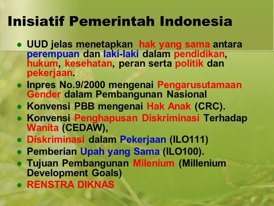 Inisiatif Pemerintah Indonesia UUD jelas menetapkan hak yang sama antara perempuan dan laki-laki dalam pendidikan, hukum, kesehatan, peran serta polit