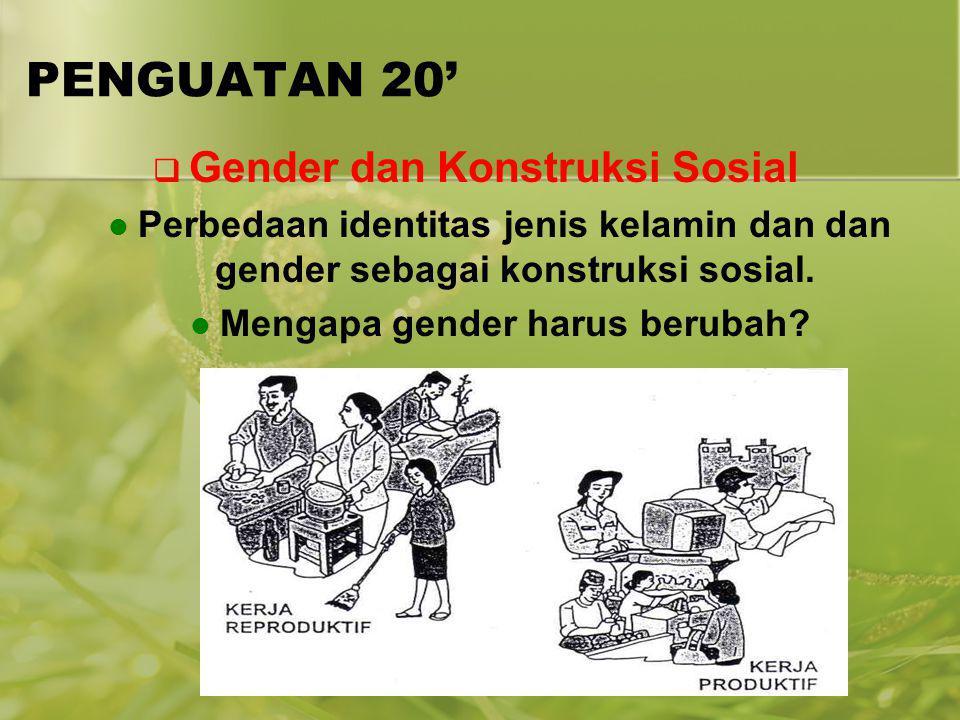 PENGUATAN 20'  Gender dan Konstruksi Sosial Perbedaan identitas jenis kelamin dan dan gender sebagai konstruksi sosial. Mengapa gender harus berubah?